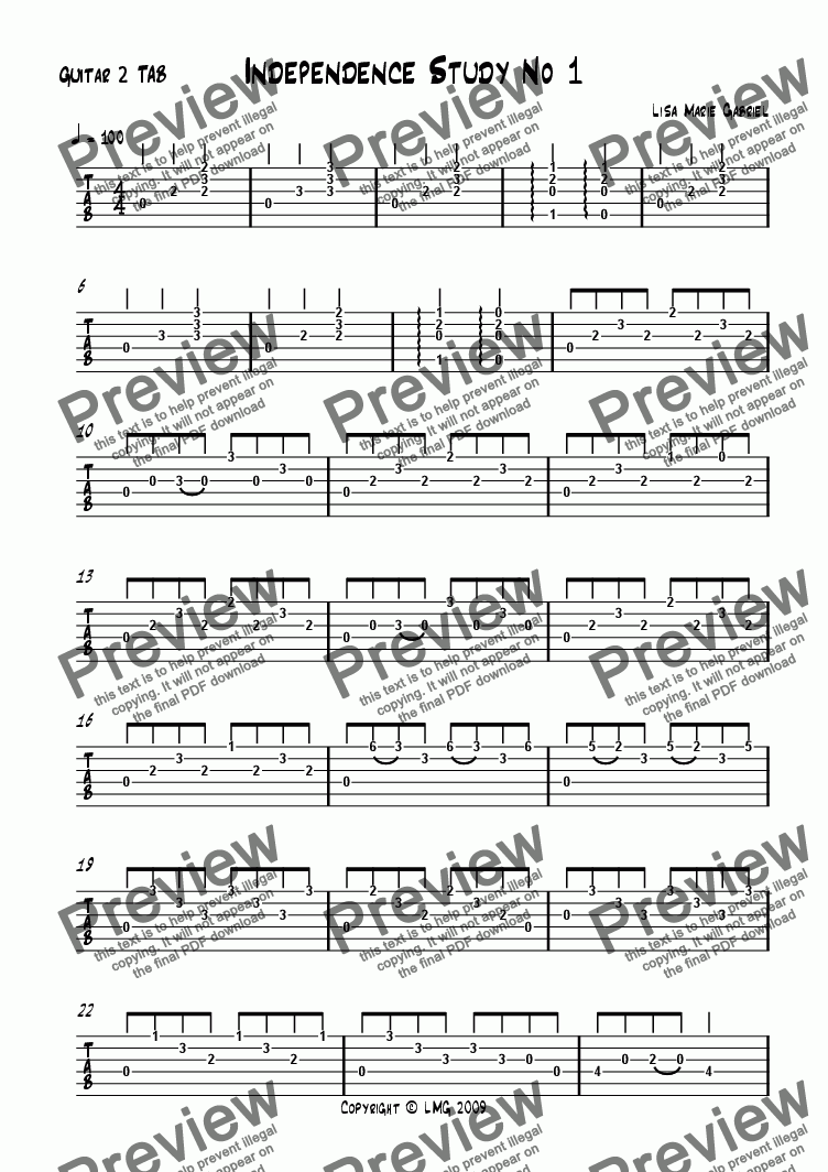 page one of the Guitar 2 TAB part from Independence Study No1 (Guitar Duet)