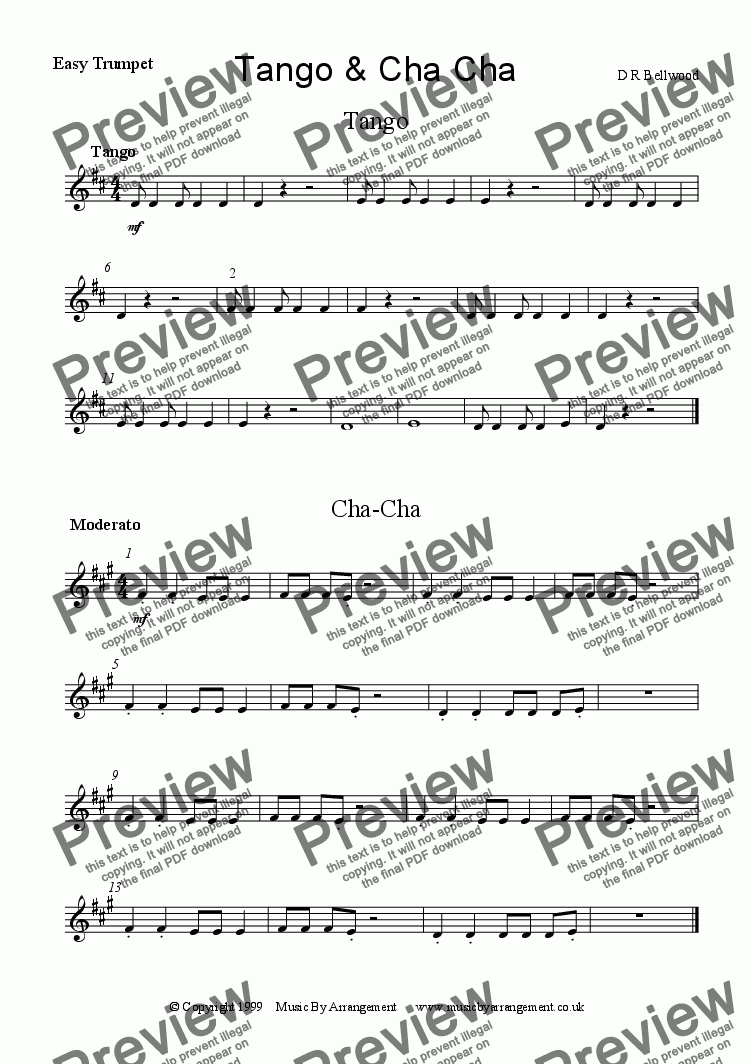 page one of the Easy Trumpet part from Tango & Cha Cha
