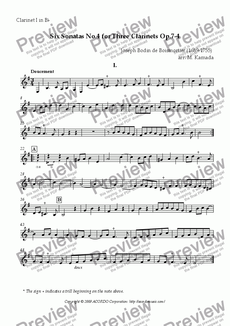 page one of the Clarinet I in Bb part from Six Sonatas No.4 for three Clarinets Op.7-4