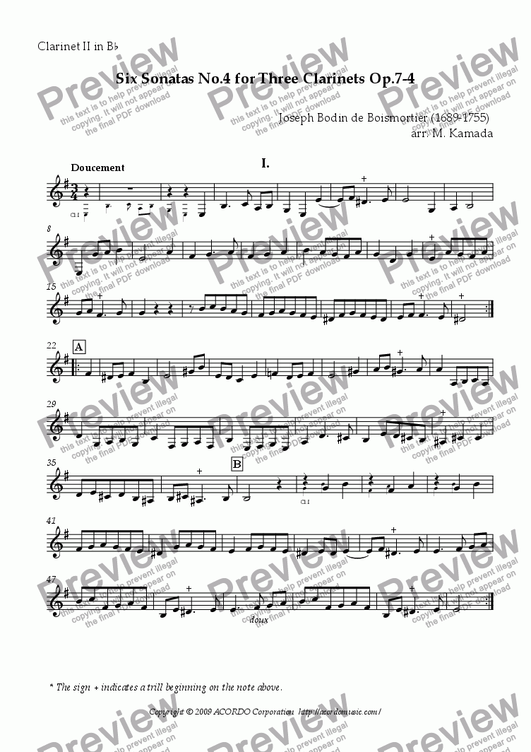 page one of the Clarinet II in Bb part from Six Sonatas No.4 for three Clarinets Op.7-4