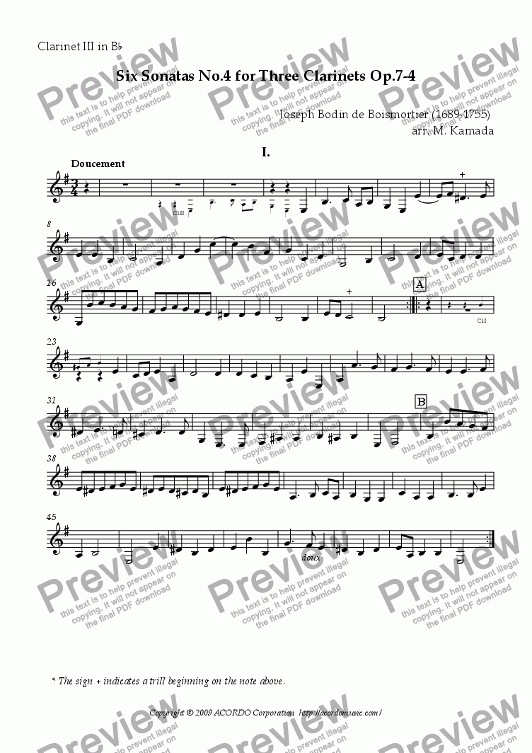 page one of the Clarinet III in Bb part from Six Sonatas No.4 for three Clarinets Op.7-4
