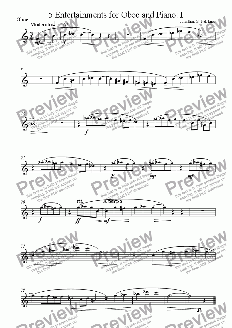 page one of the Oboe part from 5 Entertainments for Oboe and Piano (No.1)