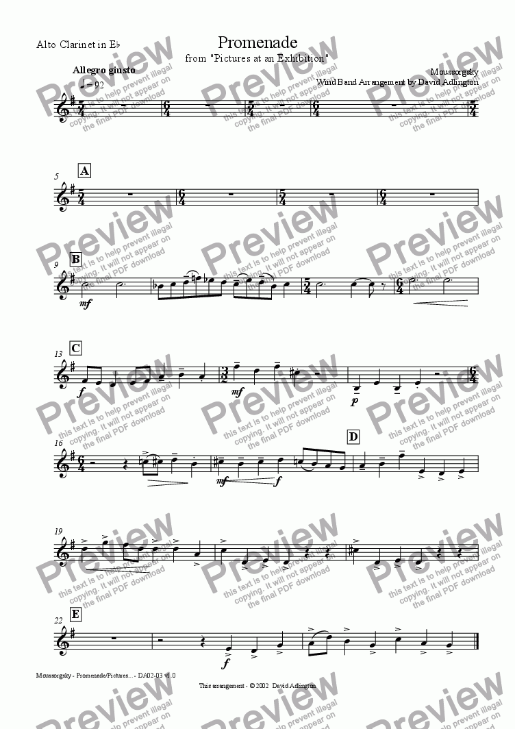 page one of the Alto Clarinet part from Promenade - from Pictures at an Exhibition - arranged for Wind Band