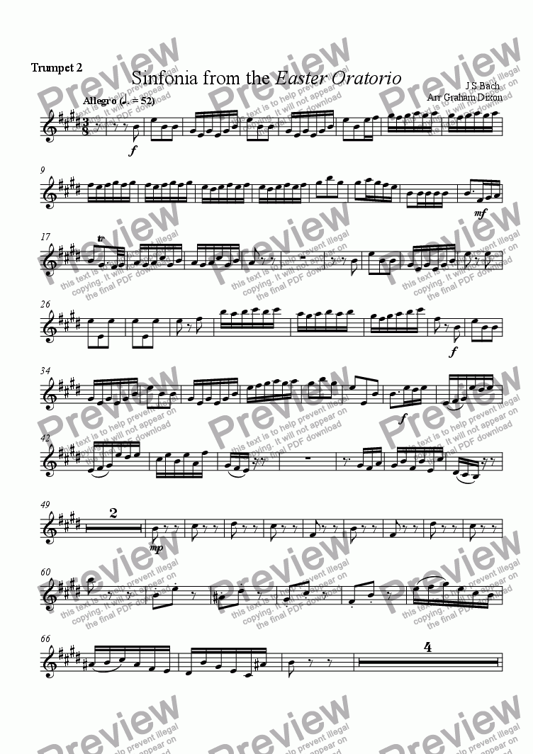 page one of the Trumpet 2 in B-flat part from Overture from the Easter Oratorio