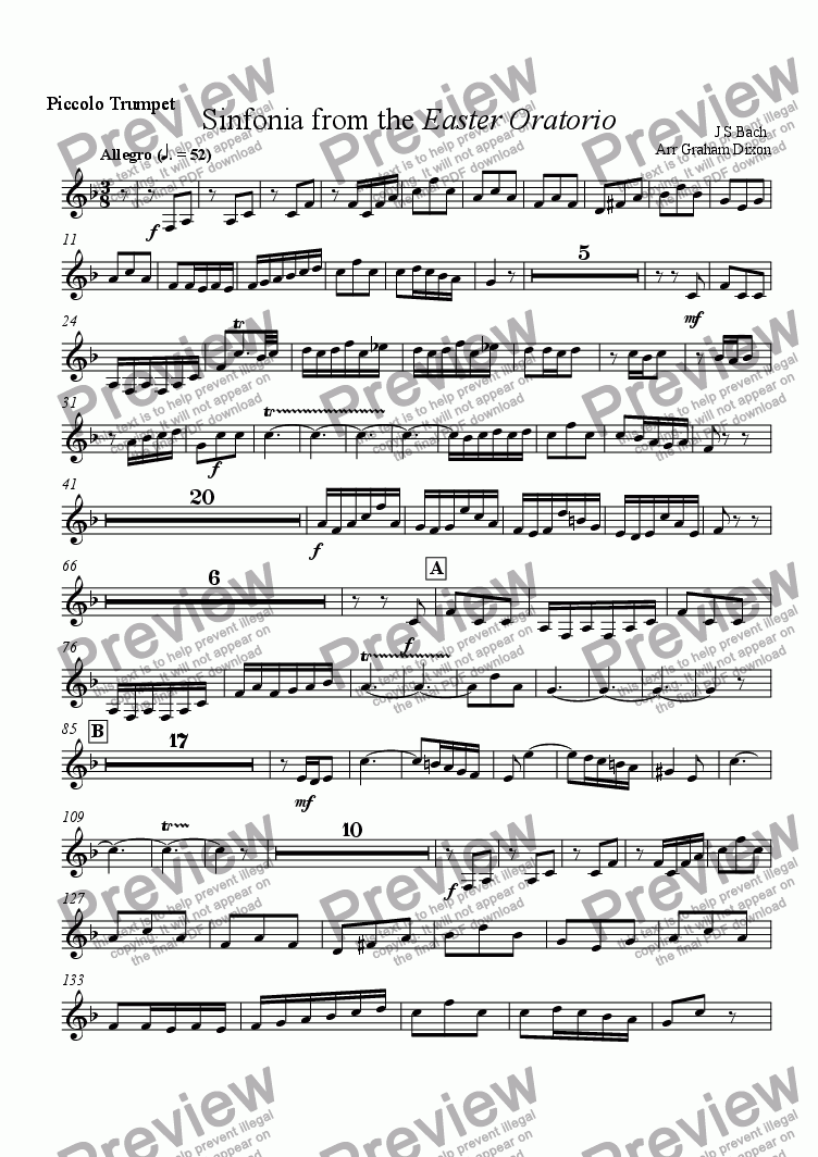 page one of the Piccolo Trumpet in A part from Overture from the Easter Oratorio