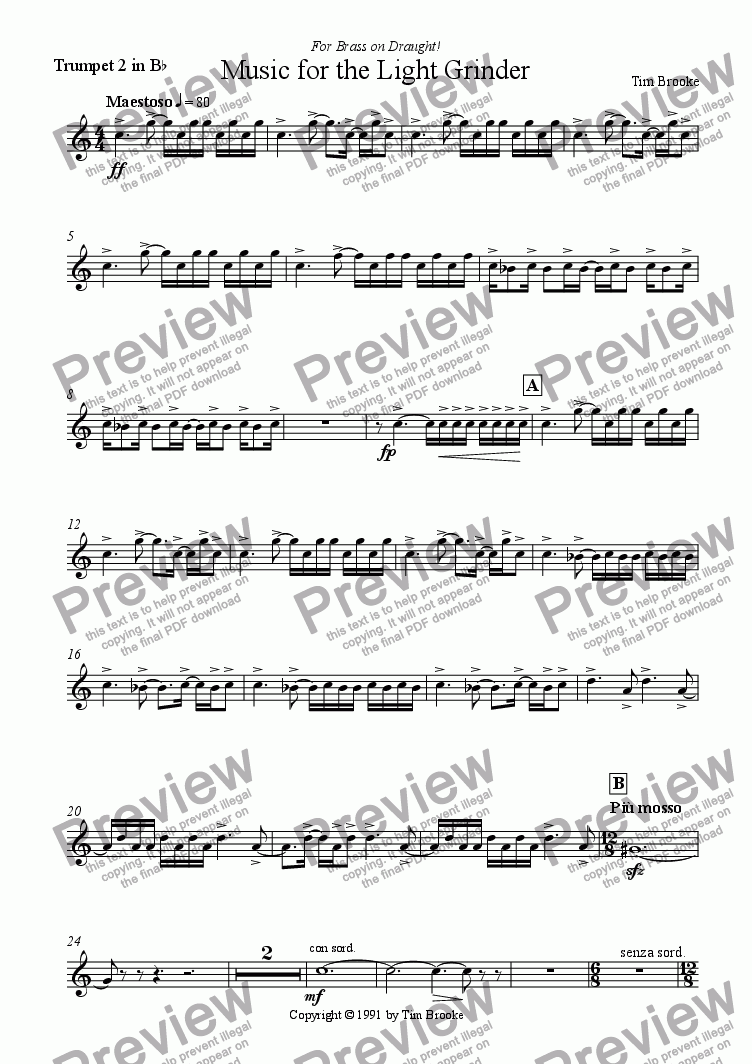 page one of the Trumpet 2 in Bb part from Music for the Light Grinder (for brass dectet)