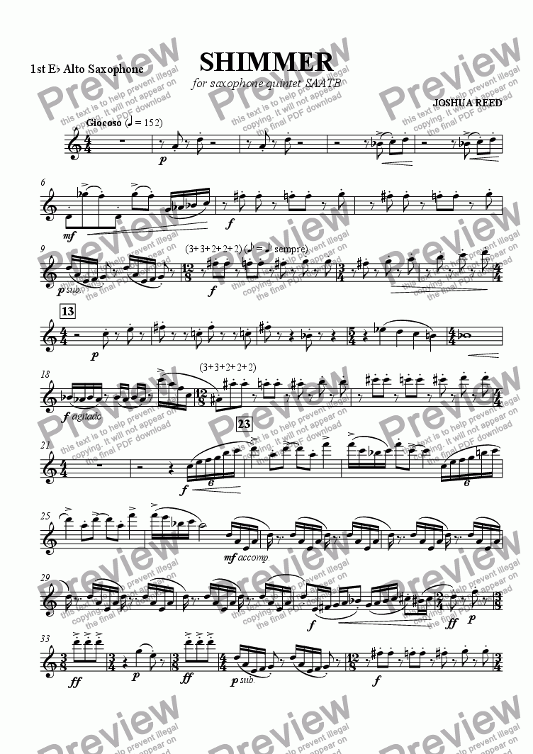page one of the Alto 1 part from Shimmer