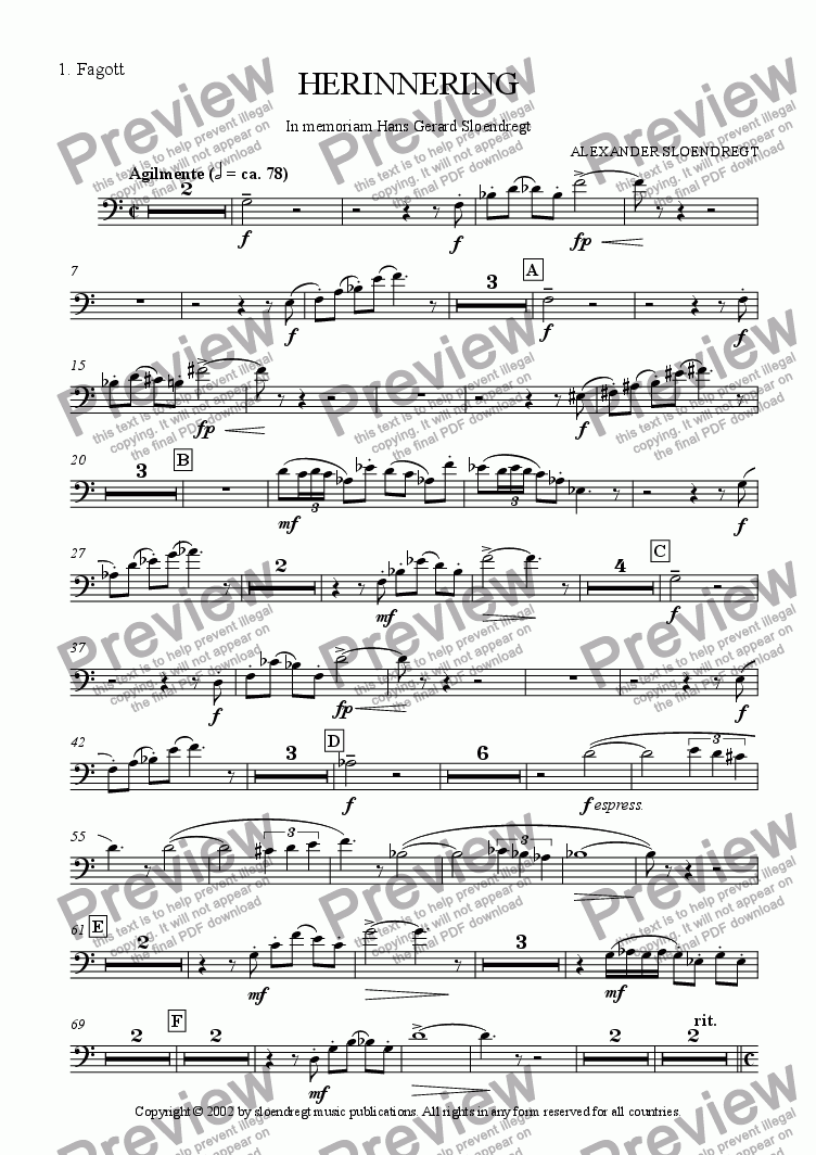 page one of the bassoon 1 part from Herinnering