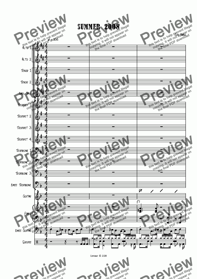 page one of the Trumpet 2 part from Summer 2008