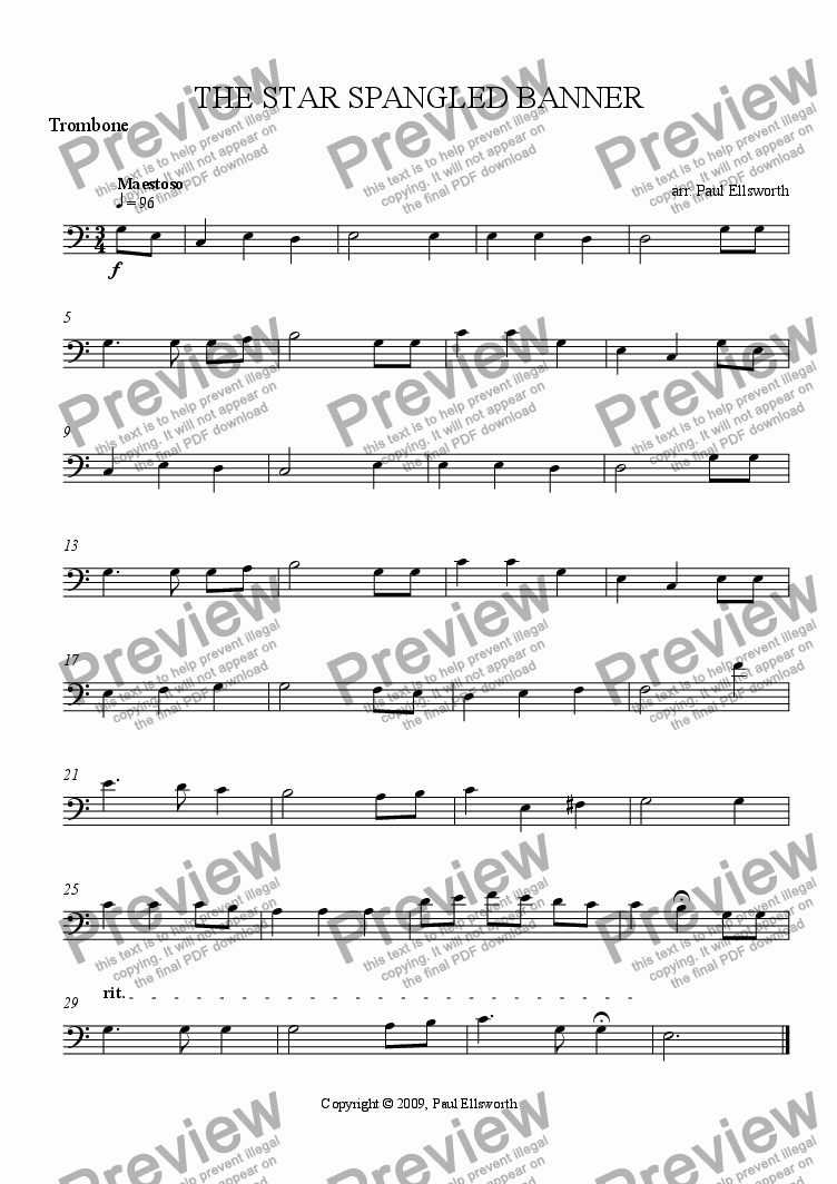 page one of the Trombone part from The Star Spangled Banner