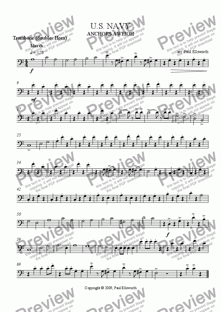 page one of the Trombone (doubles horn) part from The U.S. Navy