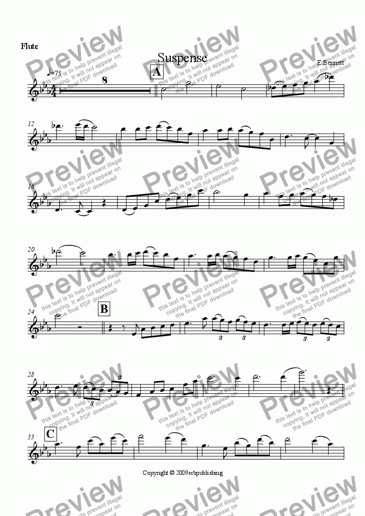 page one of the Flute part from Suspense