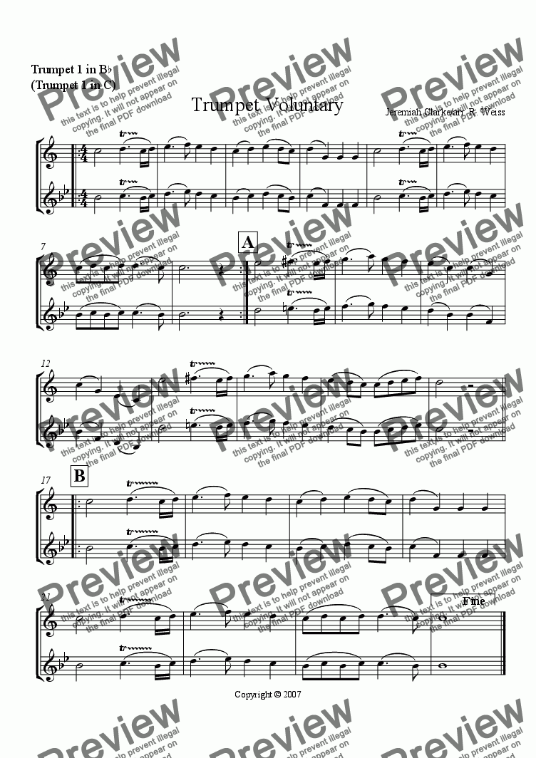 page one of the Trumpet1 (Bb & C) part from Trumpet Voluntary (for Brass Trio)
