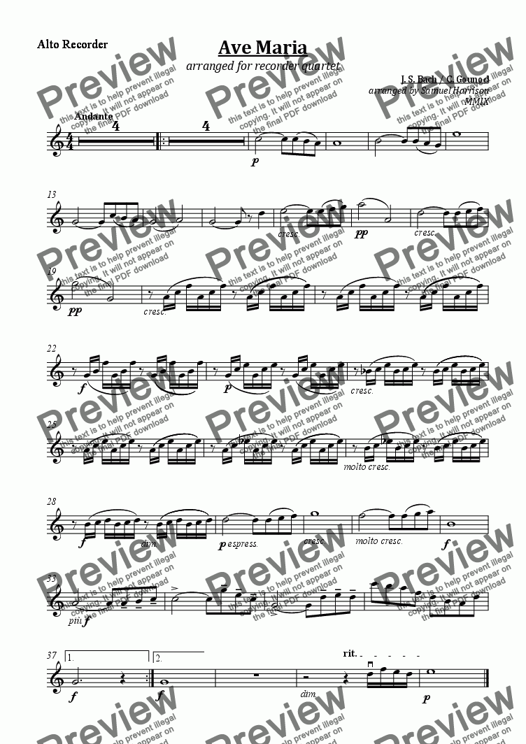 page one of the Alto Recorder part from Ave Maria (for recorder quartet)