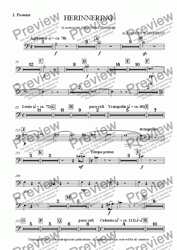 page one of the trombone 2 part from Herinnering