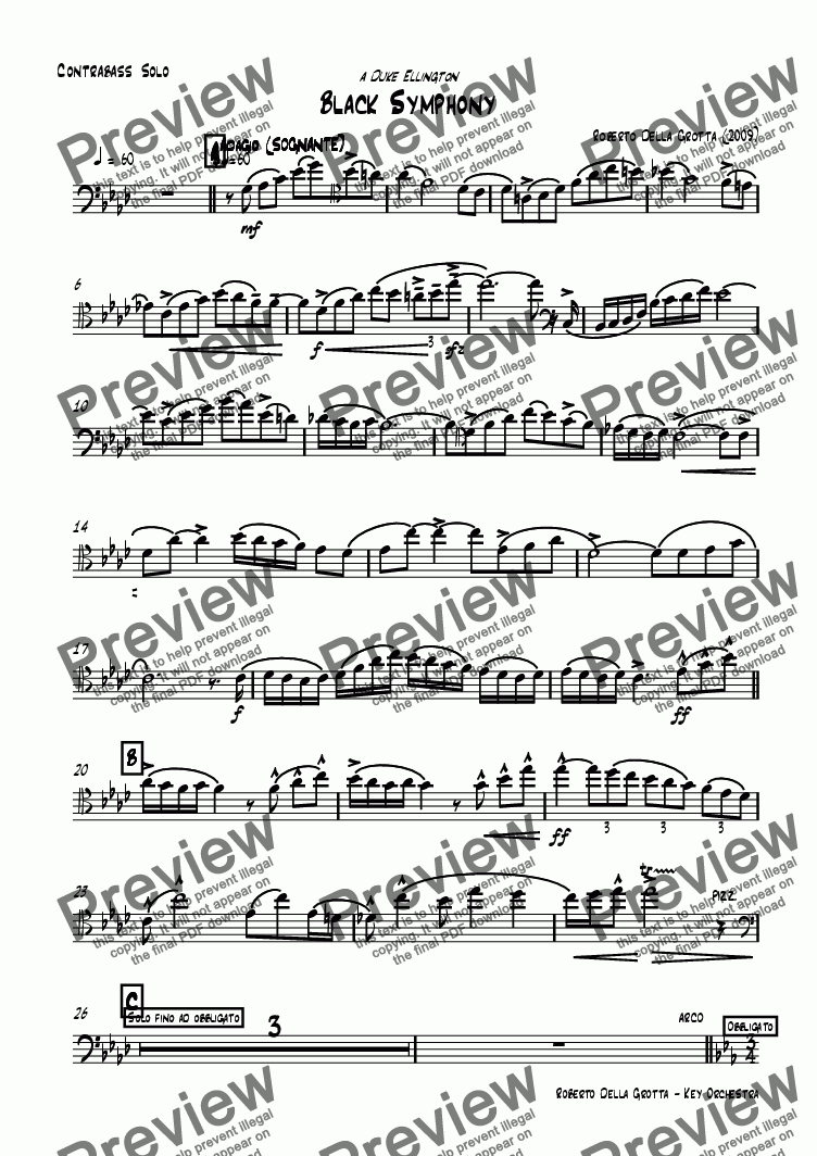 page one of the Contrabbasso part from Black Symphony
