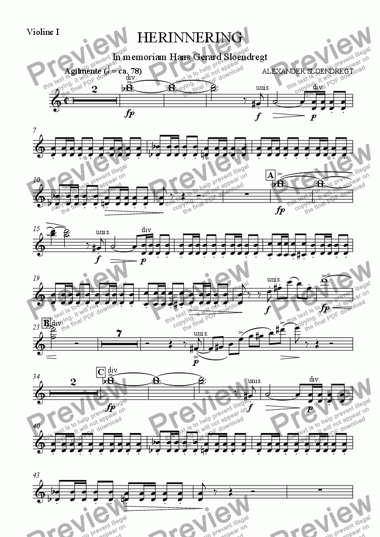 page one of the violin I part from Herinnering