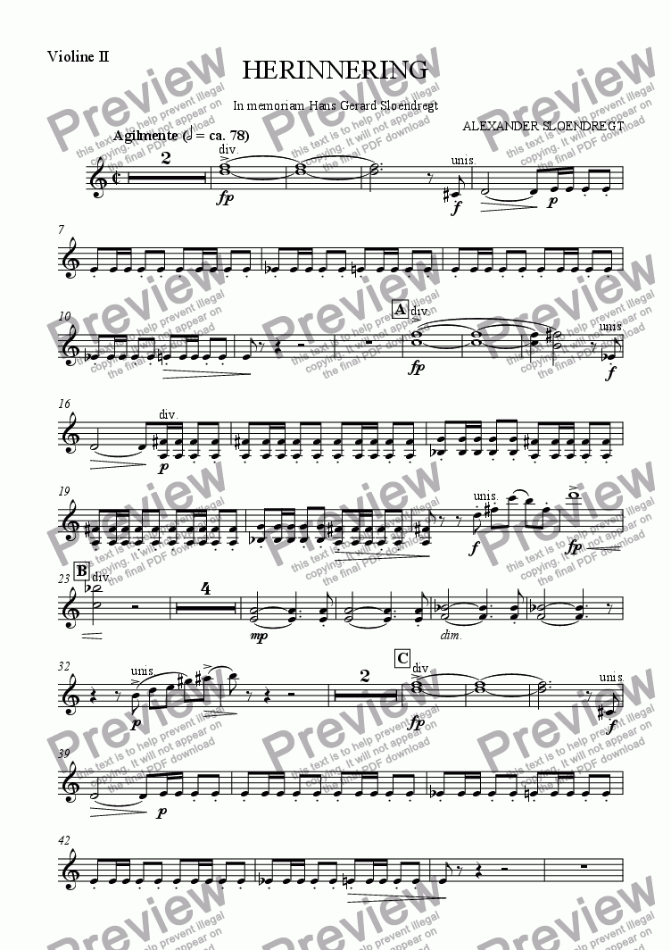 page one of the violin II part from Herinnering