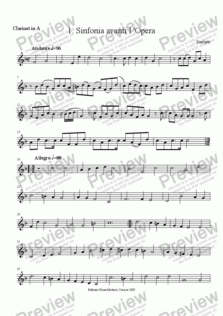 page one of the clarinet in A part from Scarlatti, Avanti L'opera for woodwind quartet