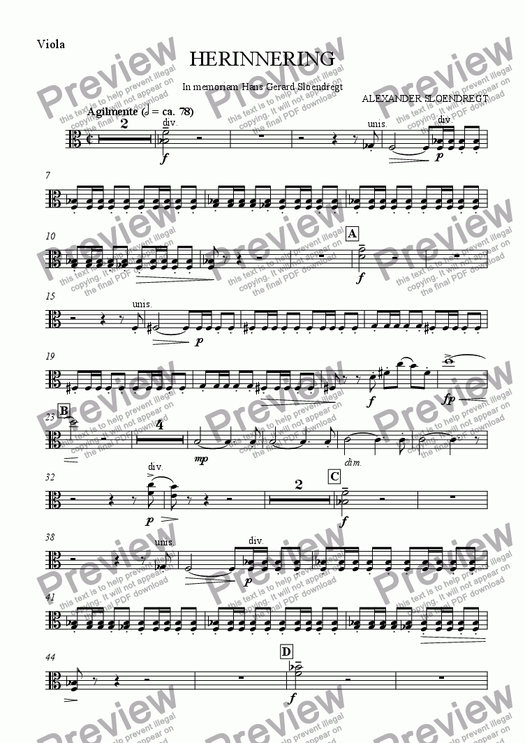 page one of the viola part from Herinnering