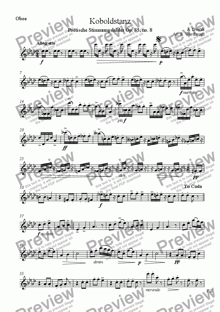 page one of the Oboe part from Koboldstanz (Goblin dance)
