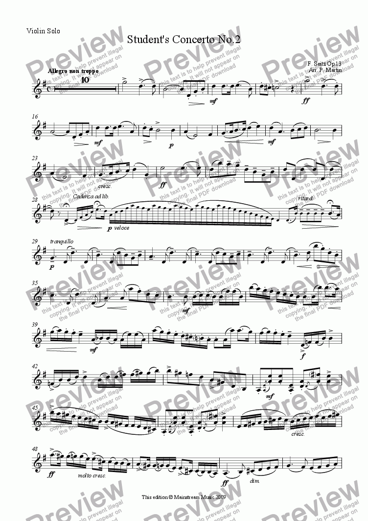 page one of the Violin Solo part from Student Concerto No.2 in G Major