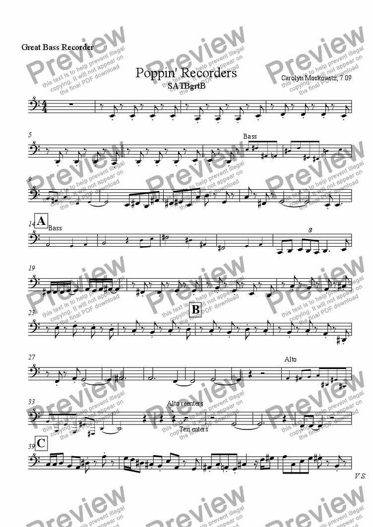 page one of the Great Bass Recorder part from Poppin' Recorders