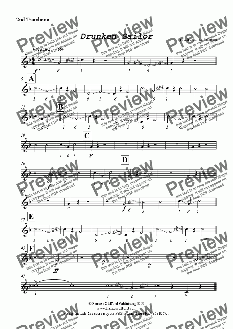 page one of the 2nd Trombone in Bb part from Drunken Sailor (Brass Band Version)
