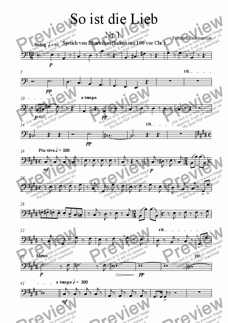"page one of the Violoncello part from So ist die Lieb""Solokantate"""
