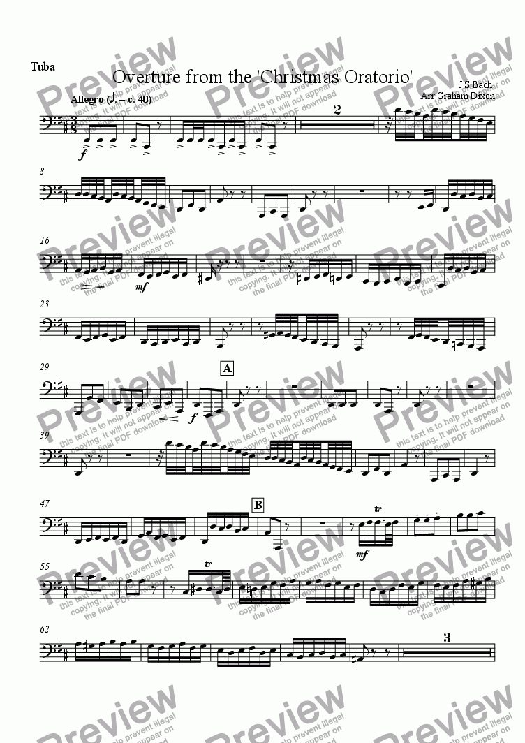 page one of the Tuba part from Overture from the 'Christmas Oratorio' for Ten-piece Brass