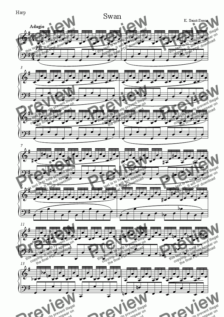 page one of the harp part from Swan