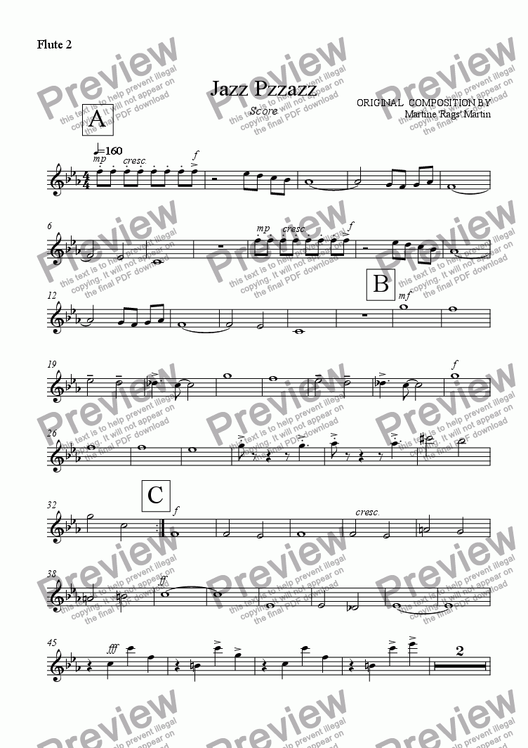 page one of the Flute 2 part from Jazz Pzzazz - Big Band