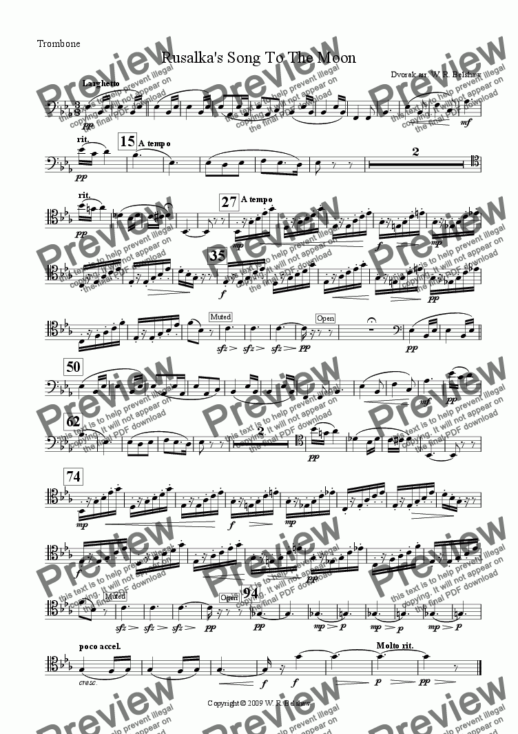 page one of the Trombone part from Rusalka's Song To The Moon (brass quintet)