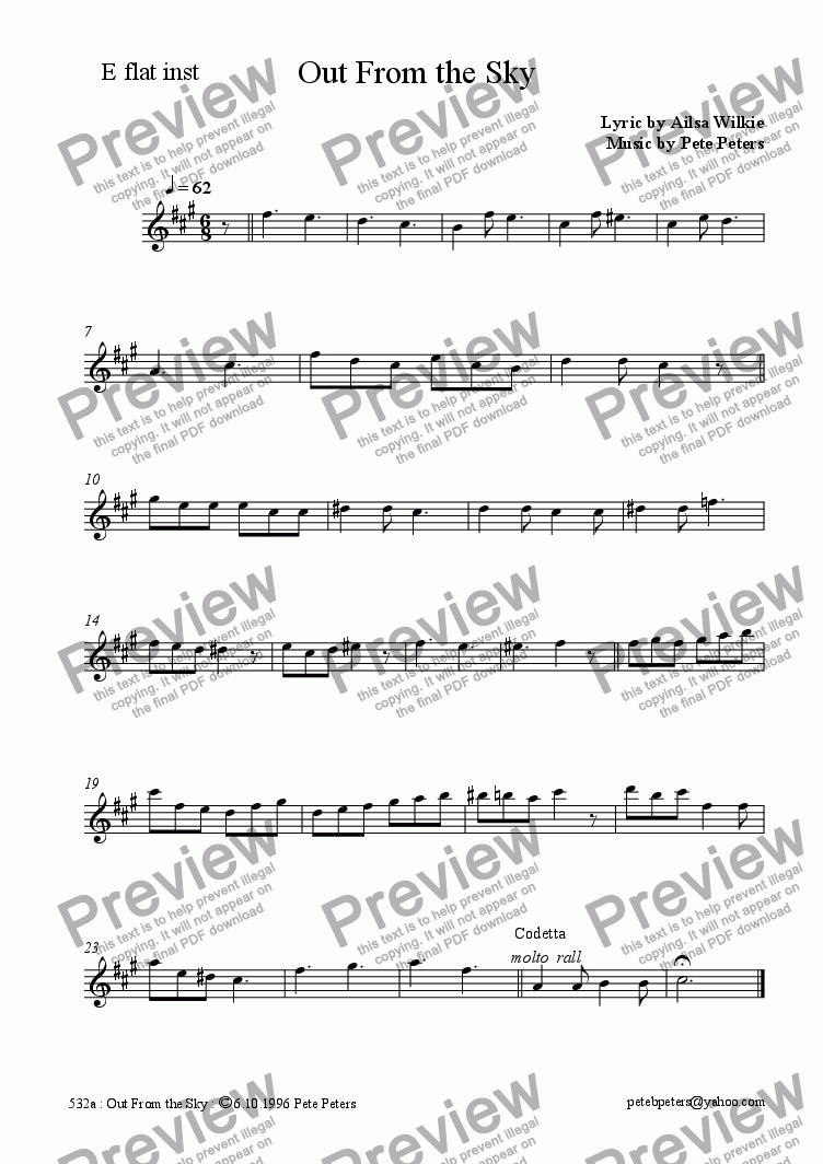 page one of the Eb inst part from Out From the Sky [Christmas vocal + piano]