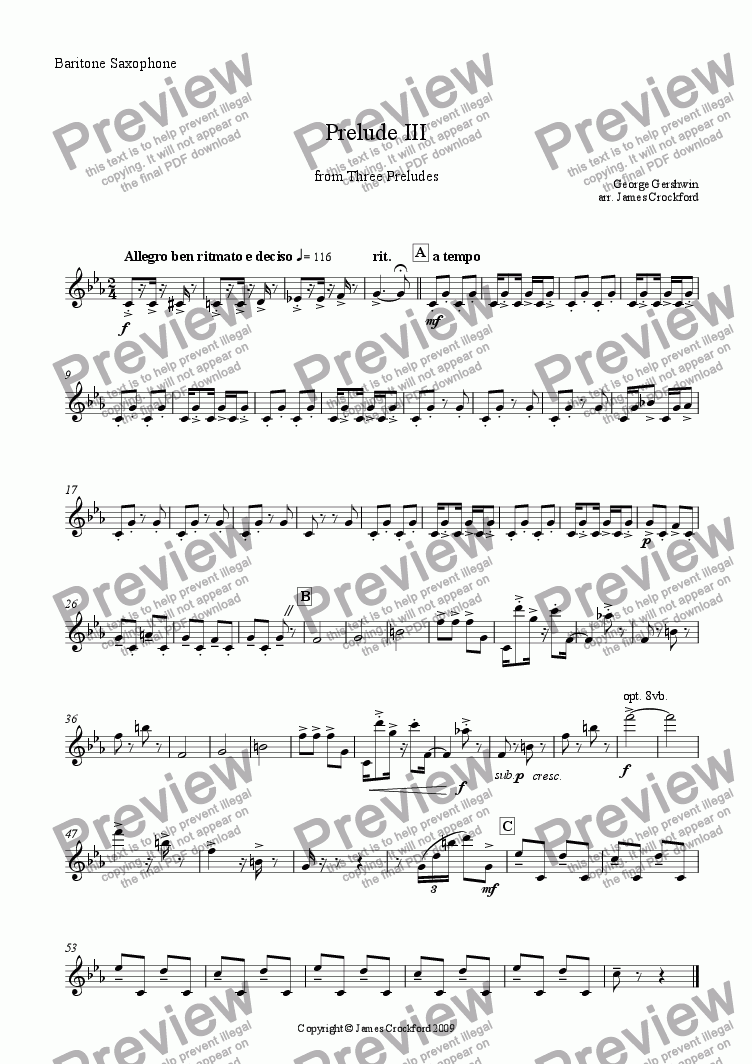 page one of the Baritone Saxophone part from Prelude III (from Three Preludes) for Saxophone Quartet