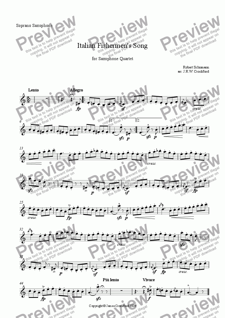 page one of the Soprano Saxophone (=1st Alto) part from Italian Fishermen's Song (for Saxophone Quartet)