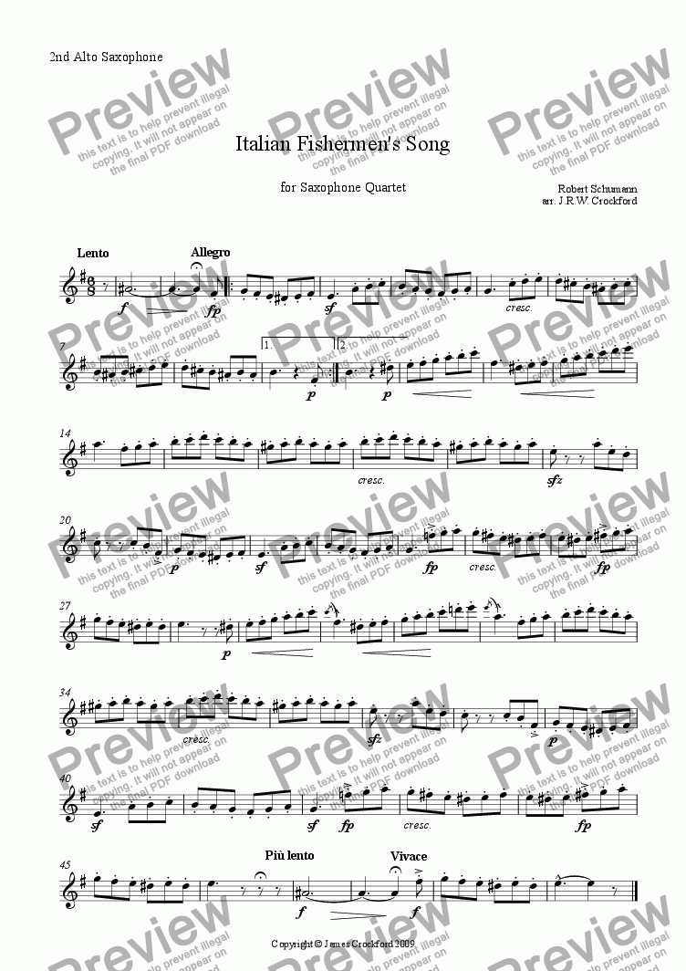 page one of the 2nd Alto Saxophone part from Italian Fishermen's Song (for Saxophone Quartet)