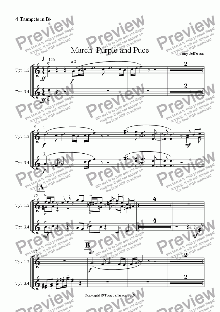 page one of the 4 Trumpets in Bb part from March: Purple and puce