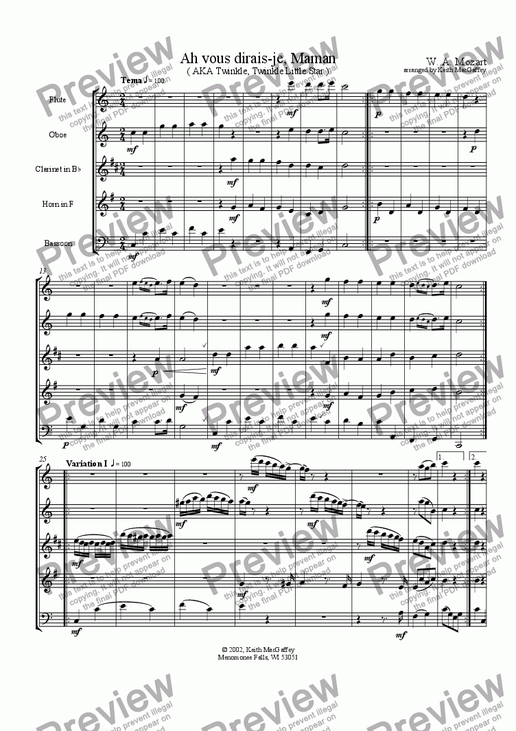 page one of the Flute part from Mozart: Twinkle, Twinkle Little Star arranged for Wind Quintet