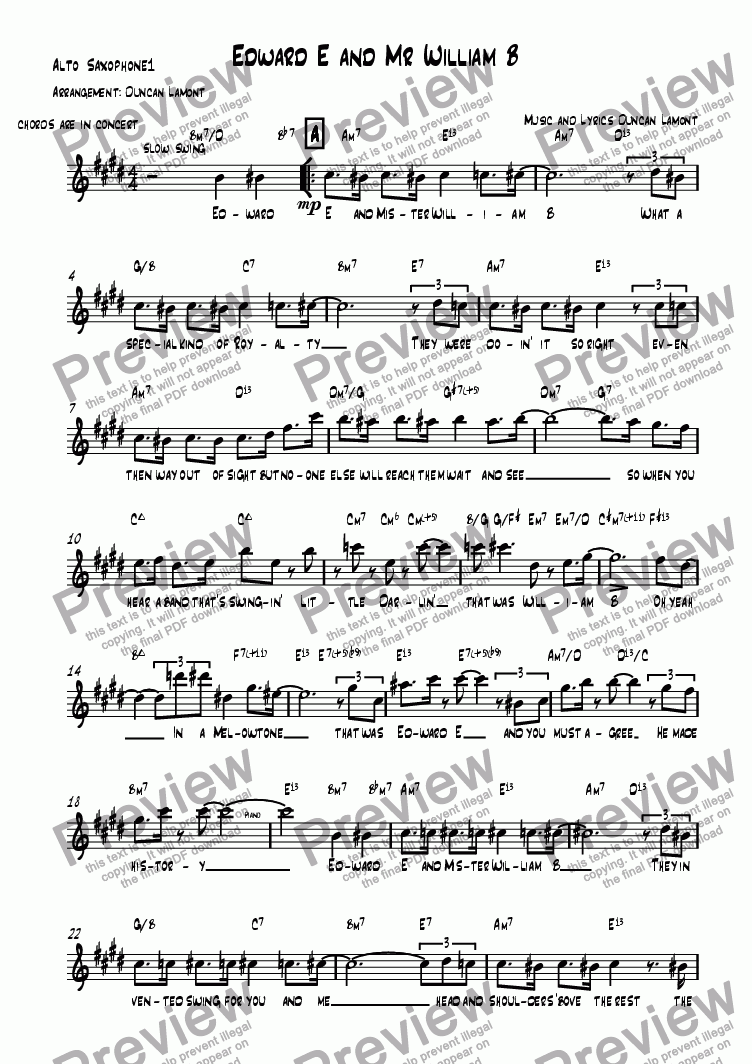 page one of the Alto Sax 1 part from Edward E and Mr William B (Quintet)