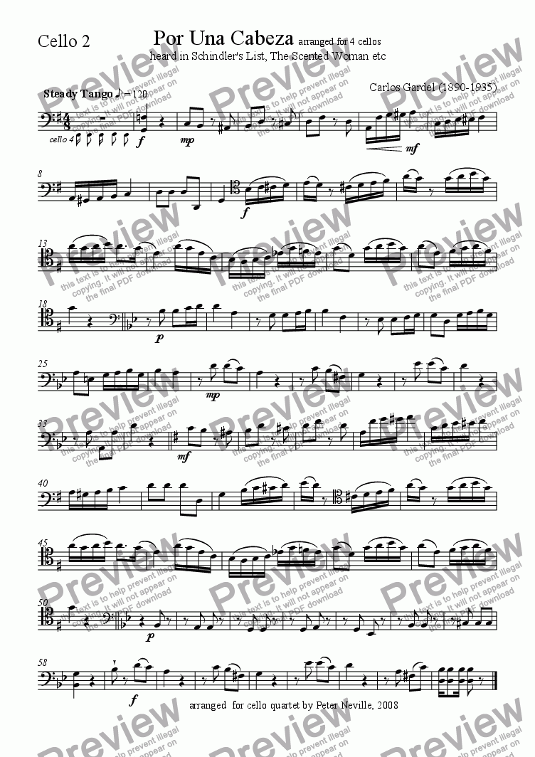 page one of the Cello 2 part from Por Una Cabeza