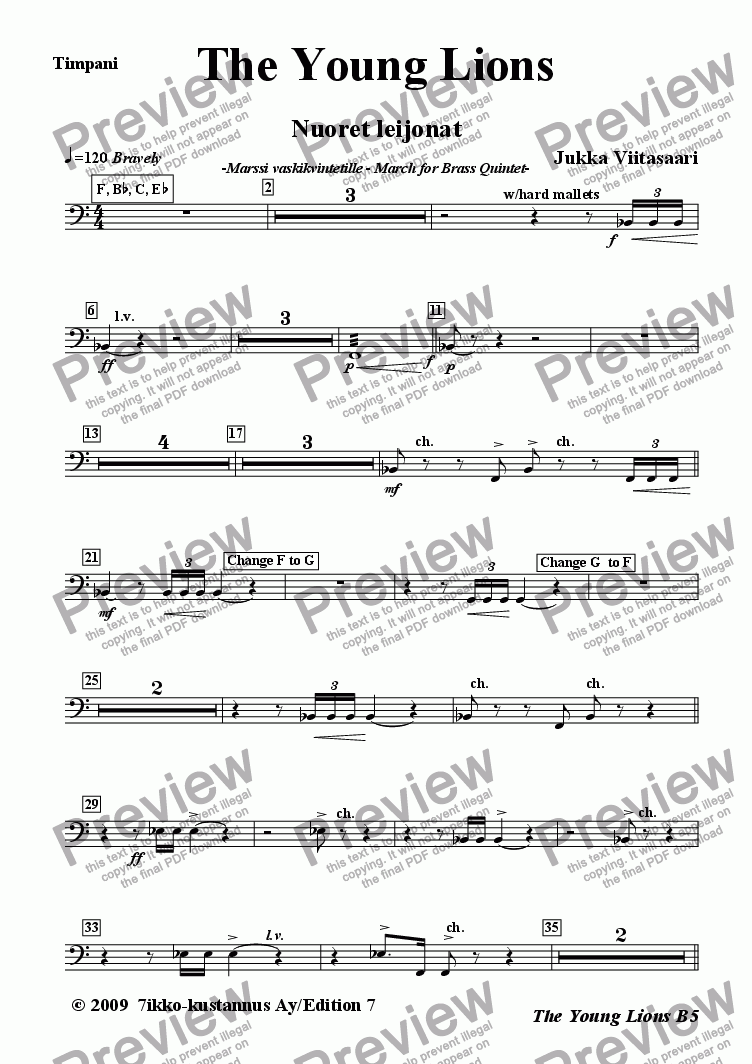 page one of the 06 Timpani (opt.) part from The Young Lions (march for brass quintet)
