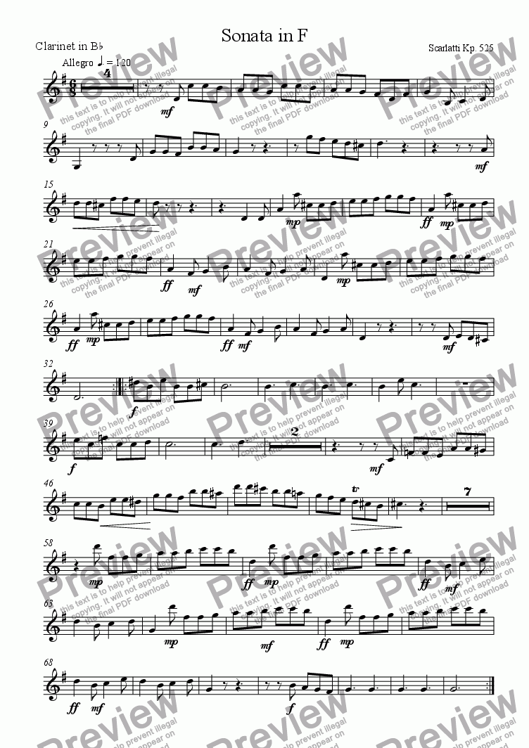 page one of the Clarinet part from Sonata in F