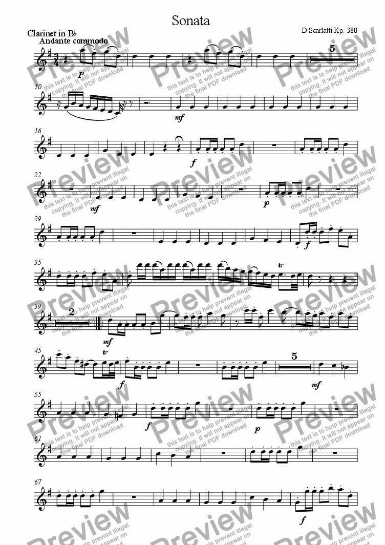 page one of the Clarinet part from Sonata Kp.380