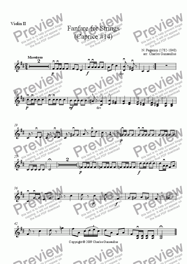 page one of the Violin 2 part from Fanfare for Strings - Caprice #14