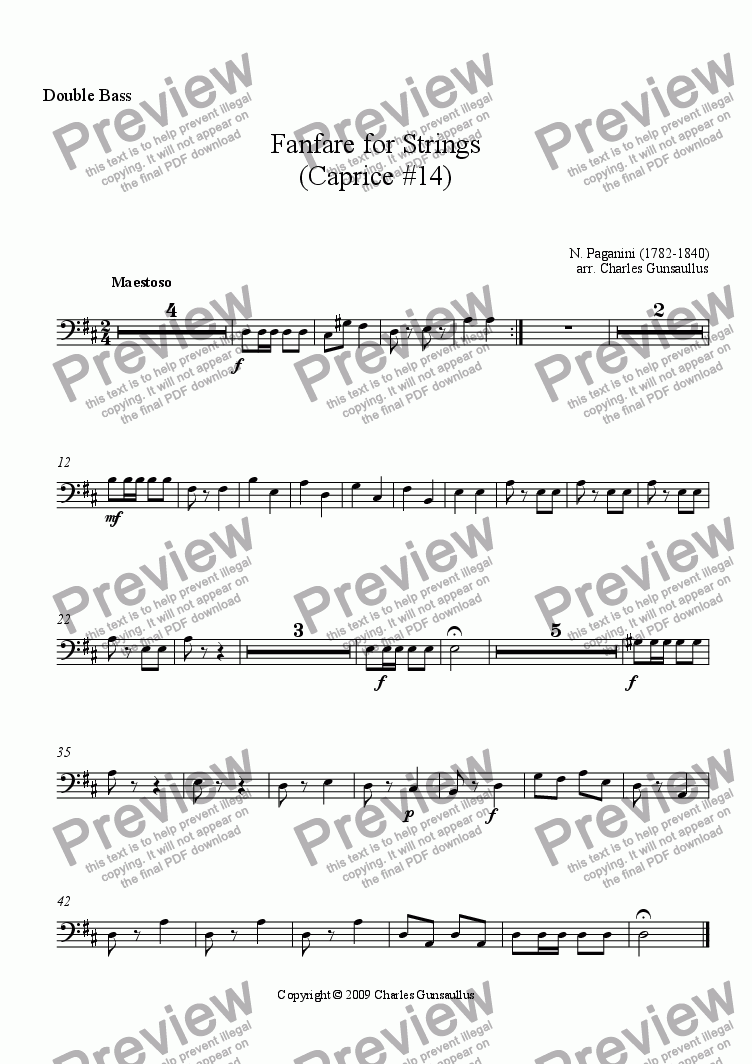 page one of the Double Bass part from Fanfare for Strings - Caprice #14