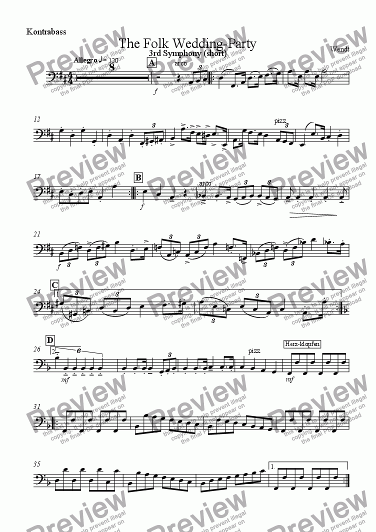 page one of the Doublebass part from 0, a Folk Wedding Party