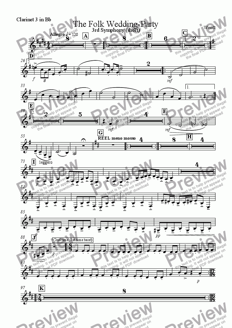 page one of the 3rd Clarinet part from 0, a Folk Wedding Party