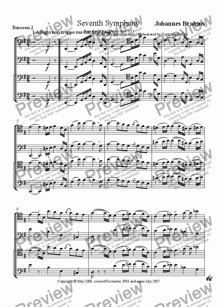 page one of the Bassoon 2 part from Brahms' Seventh Symphony I Allegro non troppo