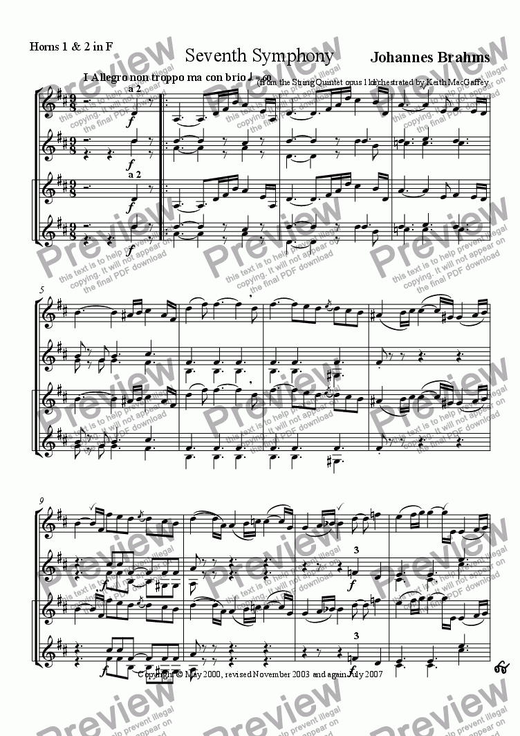 page one of the Horns 1 & 2 in F part from Brahms' Seventh Symphony I Allegro non troppo